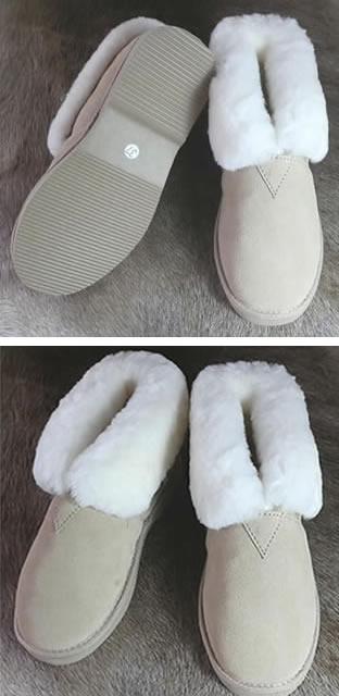 <b> Pantoffel - hoog model - beige</b>