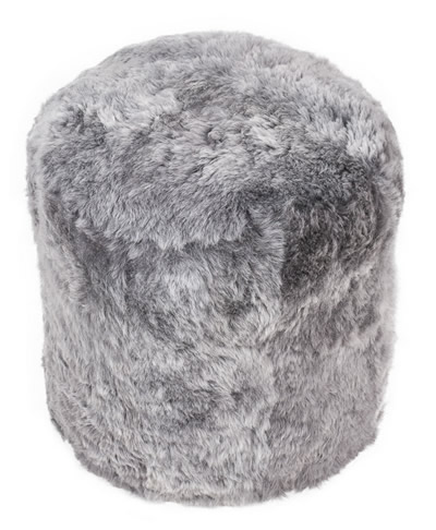 Ronde poef: grijs, kortharig