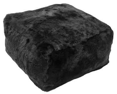 Vierkante poef: zwart/choco, kortharig